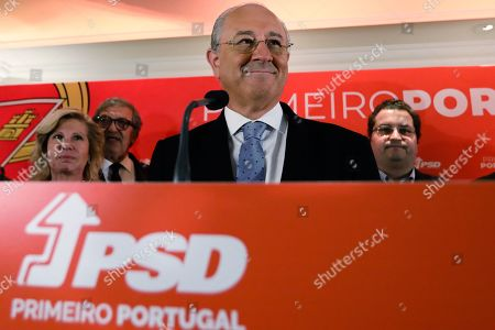 The President of Portugal's Social Democratic Party (PSD) Rui Rio (C) attends a press conference during the electoral night following the 2019 legislative elections, in Lisbon, Portugal, 06 October 2019. More than 10.8 million registered voters were called to the polls to elect the 230 deputies for the next legislature and from where the XXII Constitutional Government will take place.