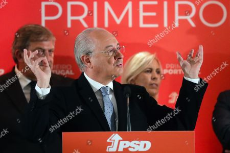 The President of Portugal's Social Democratic Party (PSD) Rui Rio (C) speaks at a press conference during the electoral night following the 2019 legislative elections, in Lisbon, Portugal, 06 October 2019. More than 10.8 million registered voters were called to the polls to elect the 230 deputies for the next legislature and from where the XXII Constitutional Government will take place.