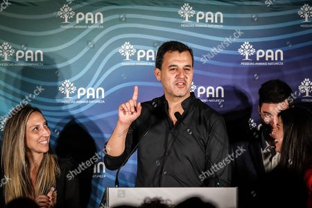 Spokesperson of Portugal's People?Animals?Nature (PAN) party, Andre Silva (C), speaks at a press conference following the 2019 legislative elections, in Lisbon, Portugal, 06 October 2019. More than 10.8 million registered voters were called to the polls to elect the 230 deputies for the next legislature and from where the XXII Constitutional Government will take place.