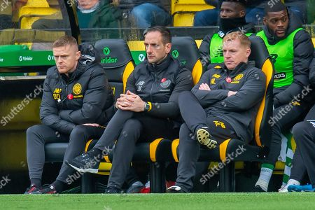 (LtoR) Assistant manager of Celtic FC, Damien Duff, Assistant manager of Celtic FC, John Kennedy and Manager of Celtic FC, Neil Lennon on the bench during the Ladbrokes Scottish Premiership match between Livingston FC and Celtic FC at The Tony Macaroni Arena, Livingston