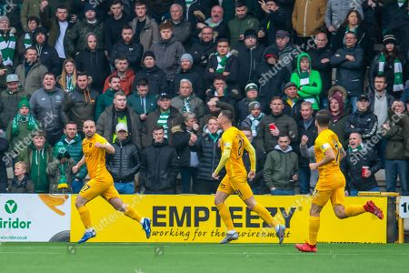 Scott Robinson (#17) of Livingston FC runs away to celebrate after scoring the opening goal during the Ladbrokes Scottish Premiership match between Livingston FC and Celtic FC at The Tony Macaroni Arena, Livingston