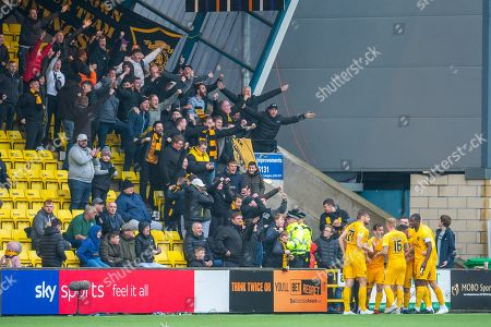 Scott Robinson (#17) of Livingston FC and his team mates celebrate in front of the Livingston fans after Robinson scores the opening goal during the Ladbrokes Scottish Premiership match between Livingston FC and Celtic FC at The Tony Macaroni Arena, Livingston