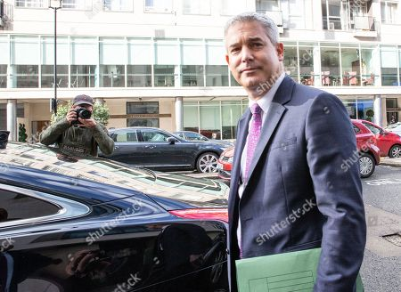 Stephen Barclay, Secretary of State for exiting the European Union, leaves the BBC after appearing on 'The Andrew Marr Show'.