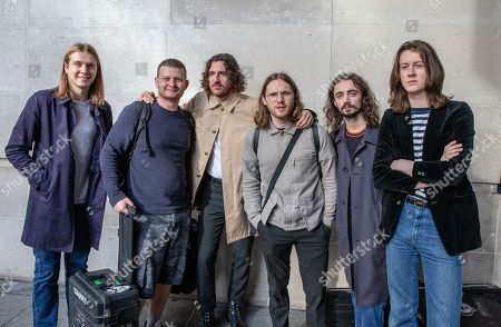 Stock Image of The Band 'Blossom', leaves the BBC after appearing on 'The Andrew Marr Show'.