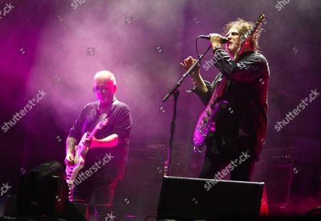 Stock Image of Robert Smith, Reeves Gabrels. The Cure's Robert Smith, right, and Reeves Gabrels perform during the first weekend of the Austin City Limits Music Festival in Zilker Park, in Austin, Texas