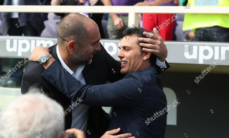 Fiorentina's head coach Vincenzo Montella (R) and Udinese's head coach Igor Tudor (L) during the Italian Serie A soccer match between ACF Fiorentina and Udinese at the Artemio Franchi stadium in Florence, Italy, 06 October 2019.