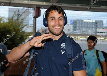 Sean Maitland - Scotland winger arrives in good spirits at the team hotel in Hamamatsu ahead of their pool match against Russia.