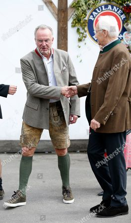 Stock Photo of Bayern Munich's CEO Karl-Heinz Rummenigge arrives at the Oktoberfest beer festival in Munich, Germany, 06 October 2019.