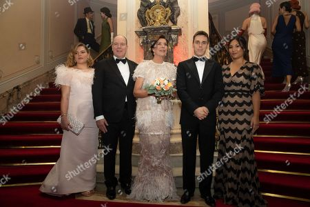 Stock Image of Camille Marie Kelly Gottlieb, Prince Albert II of Monaco, Princess Caroline of Hanover, Louis Ducruet and wife Marie