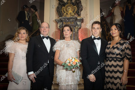 Stock Photo of Camille Marie Kelly Gottlieb, Prince Albert II of Monaco, Princess Caroline of Hanover, Louis Ducruet and wife Marie