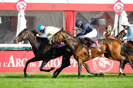 Villa Marina and Olivier Peslier win the Prix De L'Opera at Longchamp from Fleeting.