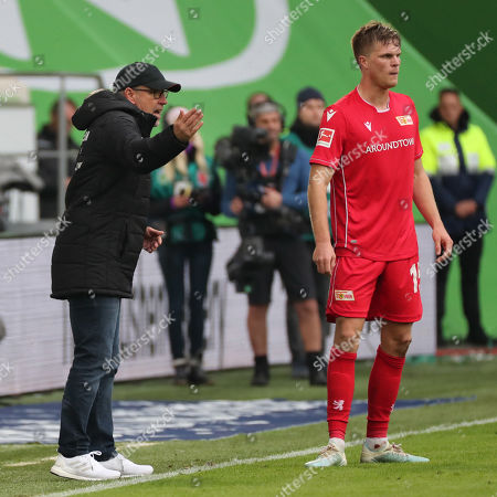 Union?s head coach Urs Fischer (L) and Union?s Marius Buelter  (R) during the German Bundesliga soccer match between VfL Wolfsburg and FC Union Berlin in Wolfsburg, Germany, 06 October 2019.