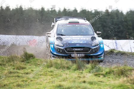 Stock Picture of Elfyn Evans(GBR)and Co/Driver Scott Martin(GBR)Ford Fiesta WRC during the Wales Rally GB at Brenig ss19