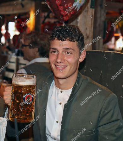 Bayern Muncih's Benjamin Pavard poses as he attends the Oktoberfest beer festival in Munich, Germany, 06 October 2019.