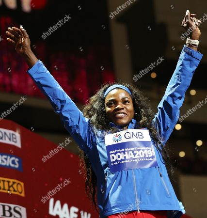 Stock Image of Bronze medalist Caterine Ibarguen of Colombia during the medal ceremony for the women's Triple Jump at the IAAF World Athletics Championships 2019 at the Khalifa Stadium in Doha, Qatar, 06 October 2019.