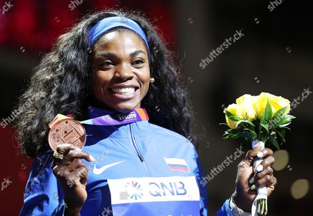 Bronze medalist Caterine Ibarguen of Colombia during the medal ceremony for the women's Triple Jump at the IAAF World Athletics Championships 2019 at the Khalifa Stadium in Doha, Qatar, 06 October 2019.