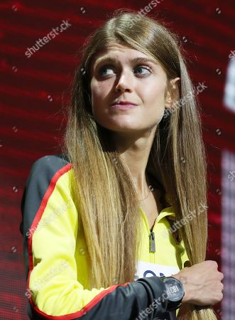 Bronze medalist Konstanze Klosterhalfen of Germany during the medal ceremony for the women's 5000m at the IAAF World Athletics Championships 2019 at the Khalifa Stadium in Doha, Qatar, 06 October 2019.