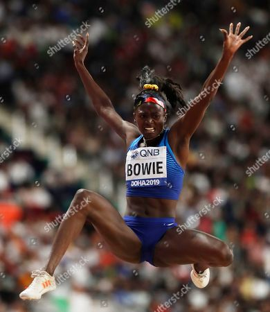 Stock Photo of Tori Bowie of the USA competes in the women's Long jump final during the IAAF World Athletics Championships 2019 at the Khalifa Stadium in Doha, Qatar, 06 October 2019.