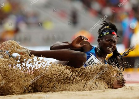 Tori Bowie of the USA competes in the women's Long jump final during the IAAF World Athletics Championships 2019 at the Khalifa Stadium in Doha, Qatar, 06 October 2019.