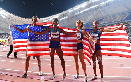 US relay team members (L-R) Phyllis Francis, Wadeline Jonathas, Sydney McLaughlin, and Dalilah Muhammad celebrate after winning the women's 4x400m Relay final at the IAAF World Athletics Championships 2019 at the Khalifa Stadium in Doha, Qatar, 06 October 2019.