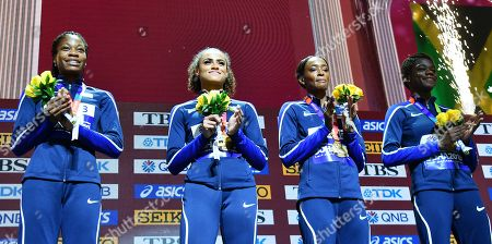 Gold medal winners the USA (from left) Phyllis Francis, Sydney McLaughlin, Dalilah Muhammad and Wadeline Jonathas during the medal ceremony for the women's 4x400m Relay at the IAAF World Athletics Championships 2019 at the Khalifa Stadium in Doha, Qatar, 06 October 2019.