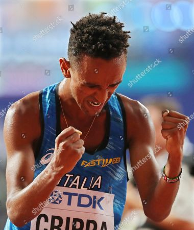 Yemaneberhan Crippa of Italy reacts after competing in the men's 10,000m final at the IAAF World Athletics Championships 2019 at the Khalifa Stadium in Doha, Qatar, 06 October 2019.