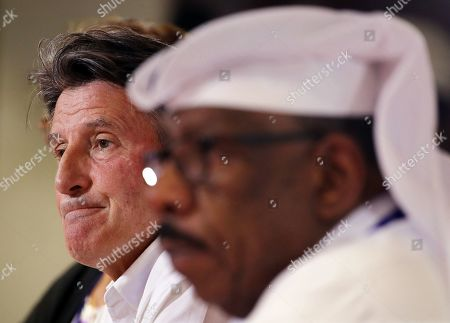IAAF president Sebastian Coe (L) of Britain and Dahlan Al Hamad (R), vice president of the IAAF and head of the Organising Committee of 2019 World Athletics Championships, attend a press conference at the IAAF World Athletics Championships 2019 at the Khalifa Stadium in Doha, Qatar, 06 October 2019.