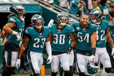 Philadelphia Eagles defensive back Orlando Scandrick (38) celebrates his turnover and touchdown with his teammates during the NFL game between the New York Jets and the Philadelphia Eagles at Lincoln Financial Field in Philadelphia, Pennsylvania