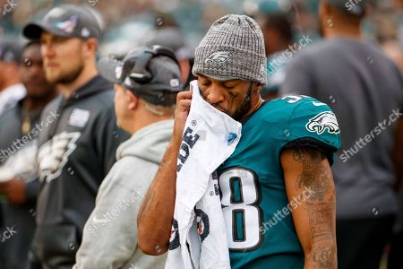 Philadelphia Eagles defensive back Orlando Scandrick (38) reacts on the sidelines during the NFL game between the New York Jets and the Philadelphia Eagles at Lincoln Financial Field in Philadelphia, Pennsylvania