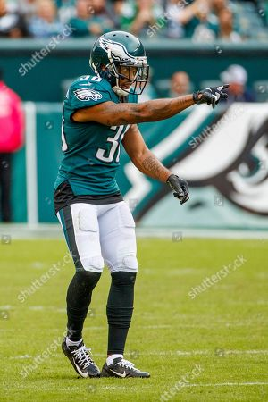 Philadelphia Eagles defensive back Orlando Scandrick (38) reacts during the NFL game between the New York Jets and the Philadelphia Eagles at Lincoln Financial Field in Philadelphia, Pennsylvania