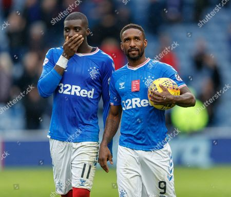 Jermain Defoe of Rangers clutches the match ball, with team mate Sheyi Ojo, left, after scoring a hat-trick in Rangers 5-0 win over Hamilton Academical.