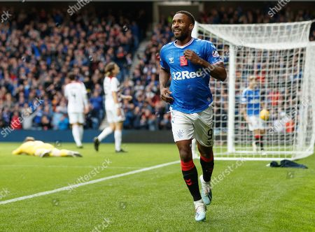 Jermain Defoe of Rangers celebrates after scoring to give Rangers a 4-0 lead.