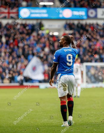 Jermain Defoe of Rangers celebrates after scoring his hat-trick goal to give Rangers a 5-0 lead.