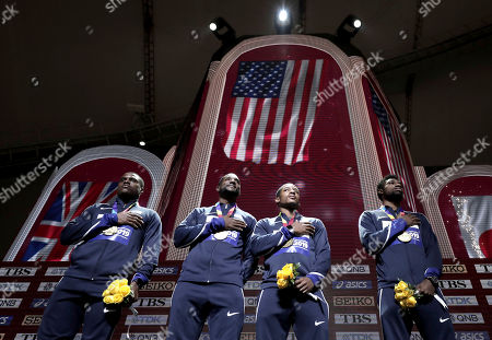 Stock Picture of Gold medalists from left, Christian Coleman, Justin Gatlin, Michael Rodgers and Noah Lyles of the United States take part in the medal ceremony for the men's 4x100 meter relay at the World Athletics Championships in Doha, Qatar