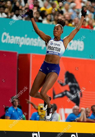 Shara Proctor, of Great Britain, competes in the women's long jump final at the World Athletics Championships in Doha, Qatar
