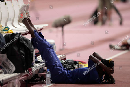 Stock Image of Tori Bowie, of the United States waits to compete in the women's long jump final at the World Athletics Championships in Doha, Qatar