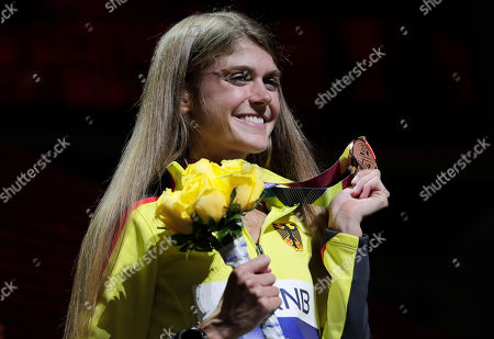 Stock Picture of Bronze medalist Konstanze Klosterhalfen of Germany poses during the medal ceremony for the women's 5000m at the World Athletics Championships in Doha, Qatar