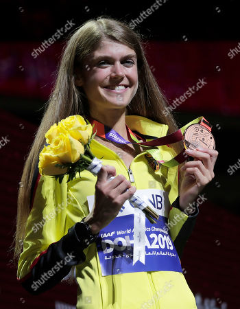 Medalist Konstanze Klosterhalfen of Germany, bronze, poses during the medal ceremony for the women's 5000m at the World Athletics Championships in Doha, Qatar