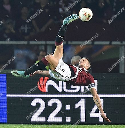 Torinos Andrea Belotti in action during the Italian Serie A soccer match Torino FC vs SSC Napoli at Grande Torino Olimpico stadium in Turin, Italy, 6 October 2019.