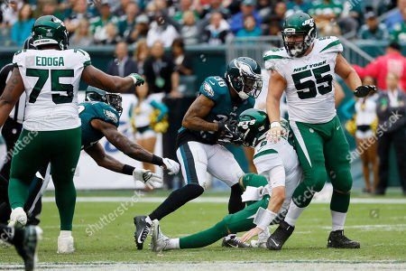 Orlando Scandrick, Luke Falk. Philadelphia Eagles' Orlando Scandrick (38) strips the ball from New York Jets' Luke Falk (8) for an eventual touchdown during the second half of an NFL football game, in Philadelphia