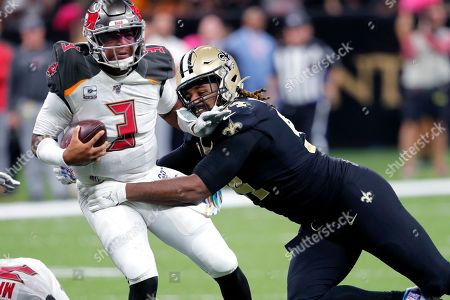 New Orleans Saints defensive end Cameron Jordan (94) sacks Tampa Bay Buccaneers quarterback Jameis Winston (3) in the second half of an NFL football game in New Orleans, . The Saints won 31-24