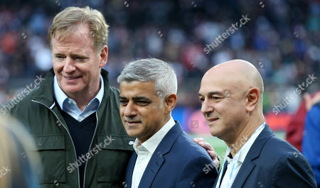 The Mayor of London Sadiq Khan & Spurs' chairman Daniel Levy (R) with NFL Commissioner Roger Goodell (L)