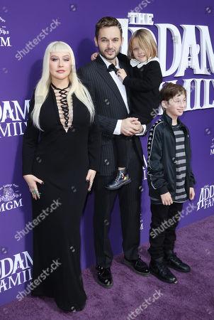 Stock Image of Christina Aguilera, Matt Rutler, Max Bratman and Summer Rain Rutler