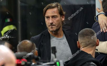 Stock Image of Former Italian soccer player Francesco Totti prior the Italian serie A soccer match between FC Inter and Juventus FC at Giuseppe Meazza stadium in Milan, Italy, 6 October 2019.