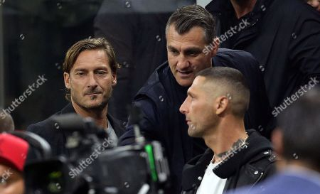 ( L-R) Former Italian soccer players Francesco Totti, Christian Vieri and Marco Materazzi prior the Italian serie A soccer match between FC Inter and Juventus FC at Giuseppe Meazza stadium in Milan, Italy, 6 October 2019.