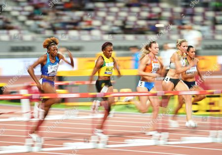 Nia Ali of United States competing in the 100 meter hurdles for women during the 17th IAAF World Athletics Championships at the Khalifa Stadium in Doha, Qatar