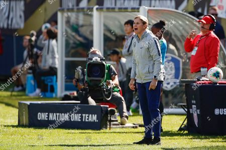 Stock Picture of United States head coach Jill Ellis yells to his team during the second half of an international friendly soccer match against South Korea, in Chicago