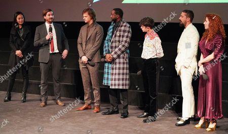 Stock Photo of Anita Gou, Christopher Leggett, Lucas Hedges, Byron Bowers, Noah Jupe, Shia LaBeouf and Alma Har'el