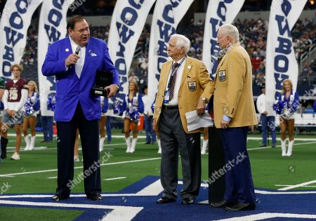 C. David Baker, Jerry Jones, Gil Brandt. Hall of Fame President C. David Baker, left, and Dallas Cowboys team owner Jerry Jones, right, present Gil Brandt, center, with his HOF ring during a ceremony at half time of an NFL football game against the Green Bay Packers in Arlington, Texas