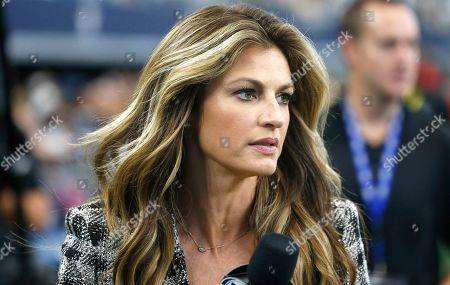 Stock Image of FOX Sports reporter Erin Andrews works the sidelines as the Cowboys play the Green Bay Packers in the first half of an NFL football game in Arlington, Texas
